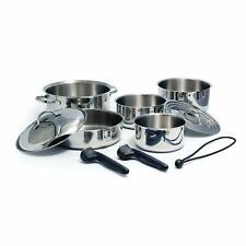 Camco Stainless Steel Nesting Cookware Set- Non Stick Pans and Pots with Remo...