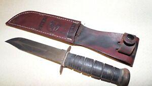 Vtg WW II KA-BAR USMC Fighting Utility Knife Ka-Bar USA Original Leather Sheath