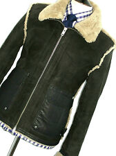 MENS DIESEL LONDON LEATHER SHEEPSKIN SHEARLING FLYING AVIATOR JACKET COAT 42R