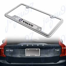 For 1PCS VOLVO Silver Stainless Steel Metal License Plate Frame New