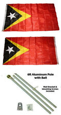 3x5 East Timor Leste 2ply Flag Aluminum Pole Kit Ball Top 3'x5'