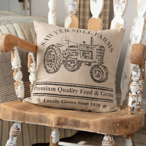 """VHC Brands Farmhouse 18""""x18"""" Tractor Pillow Tan Stenciled Sawyer Bedroom Decor"""