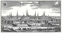 MAP ANTIQUE MERIAN 1650 LUBECK CITY PLAN OLD LARGE REPLICA POSTER PRINT PAM1088