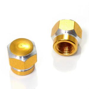 2 Gold Hex Aluminum Wheel Tire Pressure Air Stem Valve Caps for Motorcycle-Bike