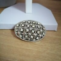 Vintage Silver Tone Oval Diamante Bling Costume Pin Back Brooch Statement