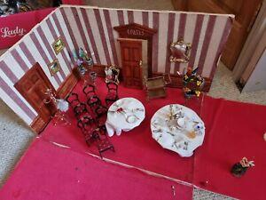 Vintage dolls house restaurant closure sale chairs, tableware, plants, etc lot.
