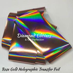 Nail Transfer Foil 1m X 4cm Hologram Holo Nail Art Rose Gold Holographic