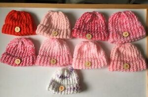 """Girls seamfree premature Baby hat, or fits 18"""" doll without hair £2.45 + 50p p&p"""