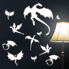 "10927 Sticker mural "" Dragons "" DRAGON DRAGON LUMINEUX FLUORESCENT ciel étoilé"