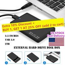 """External Backup Hard Drive Case 2TB USB_3.0 Enclosure 2.5"""" Portable HDD SATA SSD"""