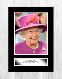 HM Queen Elizabeth II 2 A4 reproduction signed picture poster choice of frame