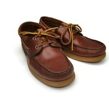 St. Johns Bay Boat Deck Shoes Mens Sz 9M US Brown Leather Uppers Comfort Insoles