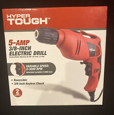 New Hyper Tough 5-Amp 3/8 inch Corded Electric Reversible Drill w/ Keyless Chuck