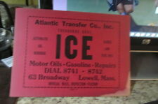 Vintage Ice Box Block Ice Delivery Card - Atlantic Transfer Lowell, Mass