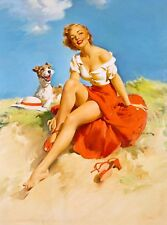 1940s Pin-Up Girl with Fox Terrier Dog Picture Poster Print Vintage Art Pin Up