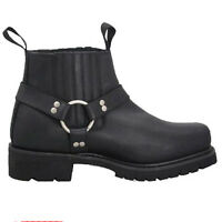 New Motorcycle Motorbike Classic Harness Style Genuine Cow Hide Leather Boot