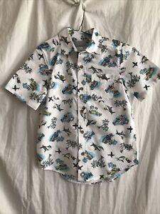 NWT Children's Place Boys 7/8 Short Sleeve Shirt White, Sharks Palm Trees Surfer