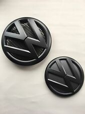 VW TRANSPORTER T5 MATTE BLACK EMBLEM FRONT & REAR BADGE SET TDI