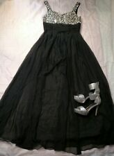 PROM LONG DRESS sz8 black and silver 36inch bust 32inch waist silver sequines