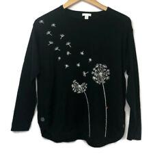 J.Jill Women's Black Dandelion Print Sweater Lightweight Knit Petite Medium