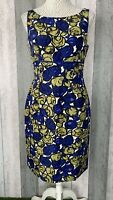 Hobbs Size 10 White 100% Silk Green Blue Floral Shift Straight Dress Occasion