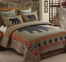 Black Bear & Paw King Quilt Set Lodge Rustic Country Bedding Green Black Shams