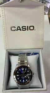 Casio Watch   MTP-VD01D-2E  Steel band  50m  Men's Blue +Casio Gift Box