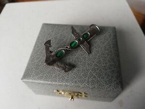 Antique Victorian 925 silver brooch pendant anchor rope malachite scottish