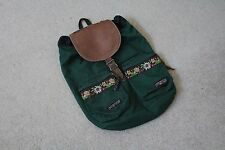 Vintage 90's JANSPORT Drawstring Leather Backpack Native Aztec Southwestern USA