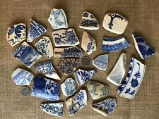 X 25 pieces of Scottish Sea Pottery BLUE and WHITE large # 33