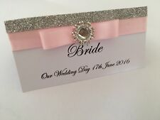 PERSONALISED GLITTER WEDDING RECEPTION NAME PLACE CARDS