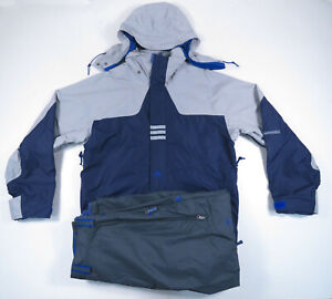 Vintage 90s Adidas Blue Gray Spell Out Snowboard Ski Jacket And Pants Set Mens L