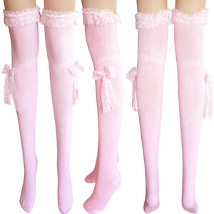 ladies cream thigh high cotton stockings grey over knee hold ups socks lace bow