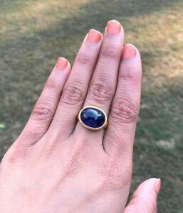 New Unused 22k Gold Ring Cabochon Sapphire Gemstone Ring Bezel setting Size 7