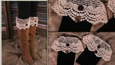 Lacy Boot Cuffs Toppers Ivory Scalloped Lace and Button Victorian Steampunk