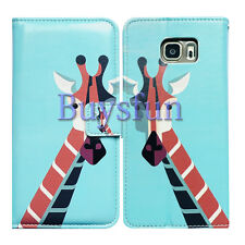Bcov Light Blue Giraffe Leather Wallet Cover Case For Samsung Galaxy S7