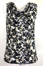 COVINGTON womens knit top PETITE SMALL brown black draped neck sleeveless (A883)