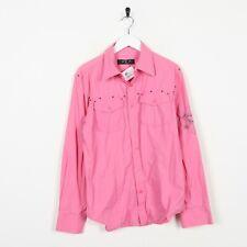 Vintage 90s ICEBERG JEANS Sleeve Logo Button Up Shirt Pink Medium M