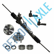 5pc Kit: Rack and Pinion + New Wheel Hub Bearings + New Outer Tie Rod End Links