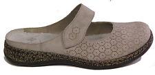RIEKER Schuhe modische Pantoletten Latschen  grau Klettverschluss NEU