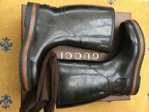 Gucci Men Shoes Black Rubber Rain Boots UK 8 US 9 EU 42 Wellington Welly Web