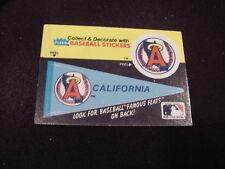 VINTAGE California Angels 1980's Fleer Pennant Sticker Card, HI GRADE!!