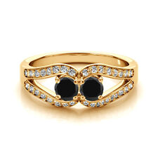1.25 Cts Black AAA 2 Stone Diamond Solitaire Engagement Ring 14k Yellow Gold