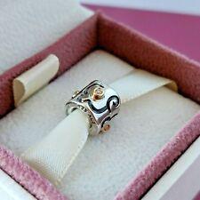 Genuine PANDORA Silver Charm with 14k Gold & Diamond 790419D + Free Gift Box