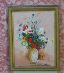 Ruthberg Oil Painting Flowers in Vase à la Raeburn Artisan Dollhouse Miniature