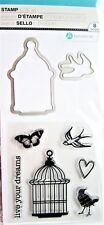 Live Your Dreams Bird Cage Clear Acrylic Stamp & Die Set by Hampton Art SC0790