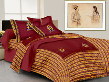 Indian Rajasthani Handmade Antique New Cotton Bed Sheet Two Pillow Covers Set