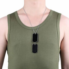Army Military Style Black 2 Dog Tags Chain Double Beauty Mens Pendant Necklace a