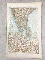 1899 Mappa Antica Di India Ceylon North Occidente Originale 19th Secolo Tedesco