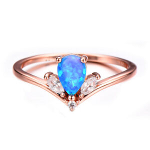 Crown Style Blue Fire Opal Topaz Rose Gold Plated Silver Round Ring Size 7-10
